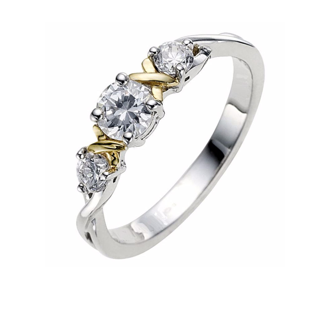 14k Two Tone Gold Fn 925 Silver Round Three-Stone Engagement Women