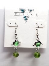 Visage Vintage Earrings Dangling Drop Green Glass Bead Fish Hook New Old... - $13.50
