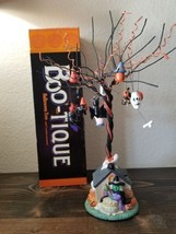 Boo-Tique Halloween Tree  Porcelain Base 15 Wooden Ornaments Cat Ghost P... - $49.99