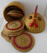 Rooster Chicken Basket 12 Coasters Rustic Country Farm Kitchen - $19.79