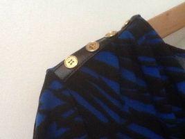 Calvin Klein Top Drape Neck 3/4 Sleeve Blue Black Print S Small image 5
