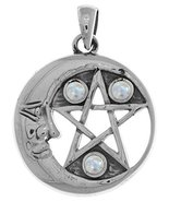 Jewelry Trends Sterling Silver Moon and Star Pentacle Pendant with Moons... - €40,38 EUR