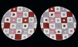 "2 Tabletops Unlimited Brick Red Geometric Squares 11-1/2"" Dinner Plates NWT - $24.99"