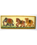 "3.5"" X 1.25"" Rajasthan Hand Painting India Miniature Horse Elephant Came... - $199.00"