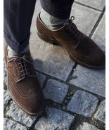 Handmade Men Brown Suede Oxfords Lace Up Personality Shoes - $156.73