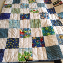 Handmade Blue & White Baby/toddler/small child Boy Crib patchwork Quilt ... - $59.35