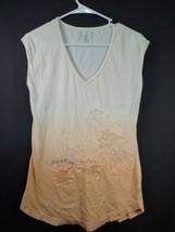 Calvin Klein Women's Orange Cream Floral Tshirt Size Medium 100% Cotton  - $12.19