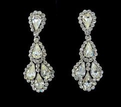 "Vintage Trifari Signed Crown Princess Rhinestone Drop Dangle Earrings 2.25"" - $107.99"