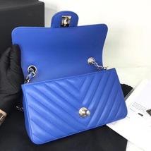 BNIB AUTH CHANEL 2019 BLUE CHEVRON LAMBSKIN LARGE MINI 20CM RECTANGULAR FLAP BAG image 8