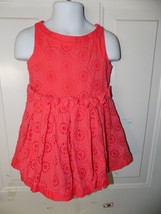 Janie and Jack WATERCOLOR POPPY Eyelet Dress Coral Orange Size 2T Girl's... - $24.00