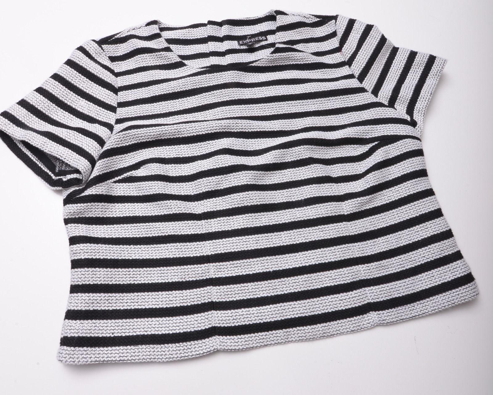 NEW EXPRESS Womens SHIRT TOP Size Medium Black White Zipped Back