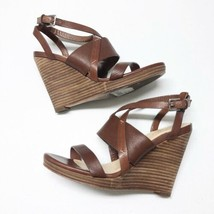 COLE HAAN Women's Sz 7.5 Pelham Strappy Wedge Sandals Shoes Brown Leather - $56.09