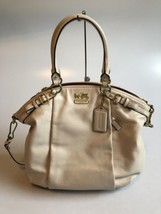 Coach Madison Leather Lindsey Parchment White Satchel Bag Purse Handbag ... - $188.49