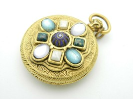 Gold Tone Faux Gem Stone Embossed Locket Style Pendant Vintage - $24.74