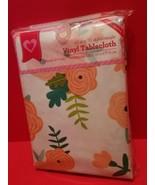 Home Gift Tablecloth 52 x 70 Vinyl Peach Flower Floral Rectangular Table... - $14.24