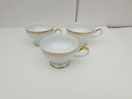 Vintage White China Teacup Set of 3 Gold Trim Tea Cups Unbranded 6 oz - $14.50