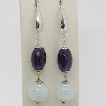 EARRINGS SILVER 925 RHODIUM PLATED WITH AQUAMARINE AND AMETHYST OVAL image 1