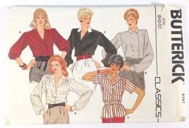 Vtg 80s Butterick 6197 Misses Blouse Long Short Sleeve V-Neck 8-10-12 FF - $6.95