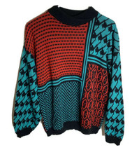 Vintage No Way Womens Medium Sweater Black Red  Teal Acrylic Pullover - $29.68