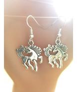 Unicorn horse charm earrings silver dangles handmade fantasy animal jewelry - $2.50