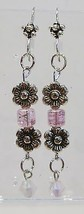 handmade pink and silver bead flower bead and crystal drop earrings - $9.00