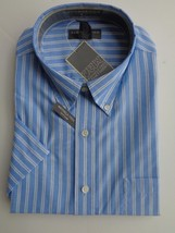 NWT MENS SADDLEBRED S/S CASUAL COTTON BLEND BLUE STRIPES BUTTON COLLAR XL - $13.09