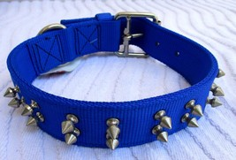 """COASTAL PET..BLUE..1-1/2""""..NYLON..WIDE..DOUBLE PLY & SPIKED..DOG..COLLAR... - $19.99"""