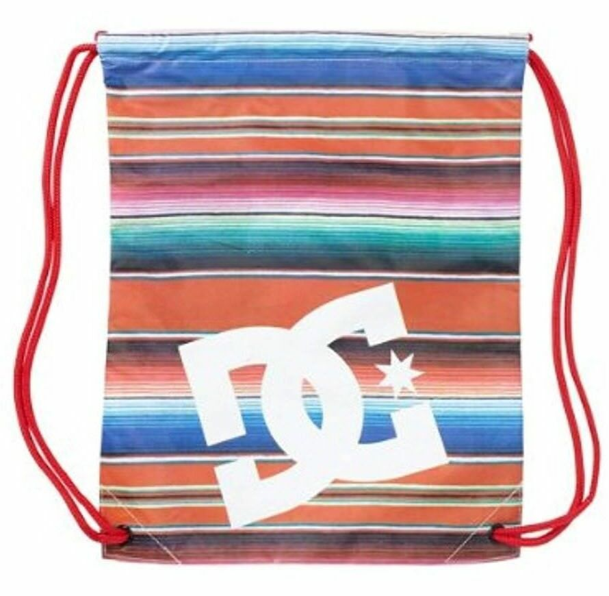 """DC Shoes 17.5"""" x 13.5"""" Tomato Red Striped Simpski Cinch Bag Backpack NWT"""