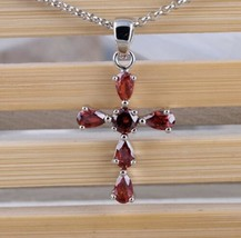 """925 Sterling Silver Ladies Red Ruby Cross Pendant Necklace w 18"""" Chain [... - $11.88"""