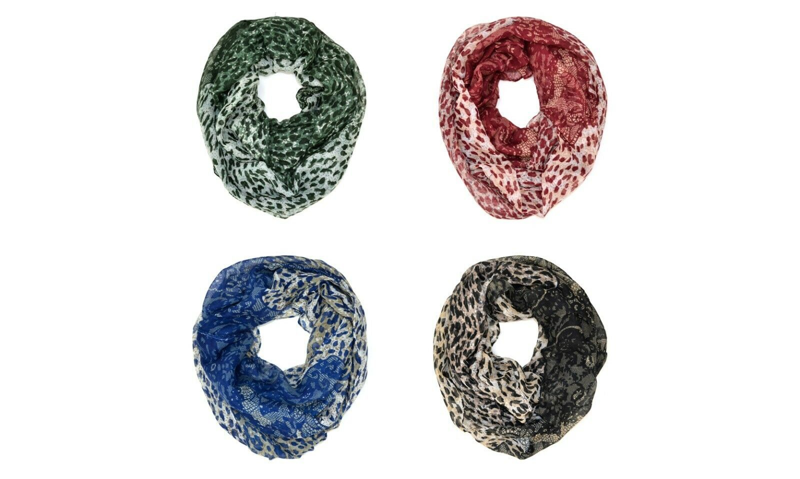 Primary image for Leopard Cheetah Wild Animal Lace Print Block Circle Loop Wrap Infinity Scarf