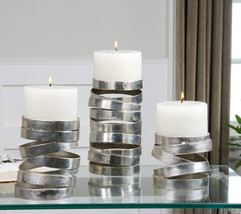 3 Urban Abstract Metallic Silver Coil Pillar Candle Holders Aged White Candles - $173.80
