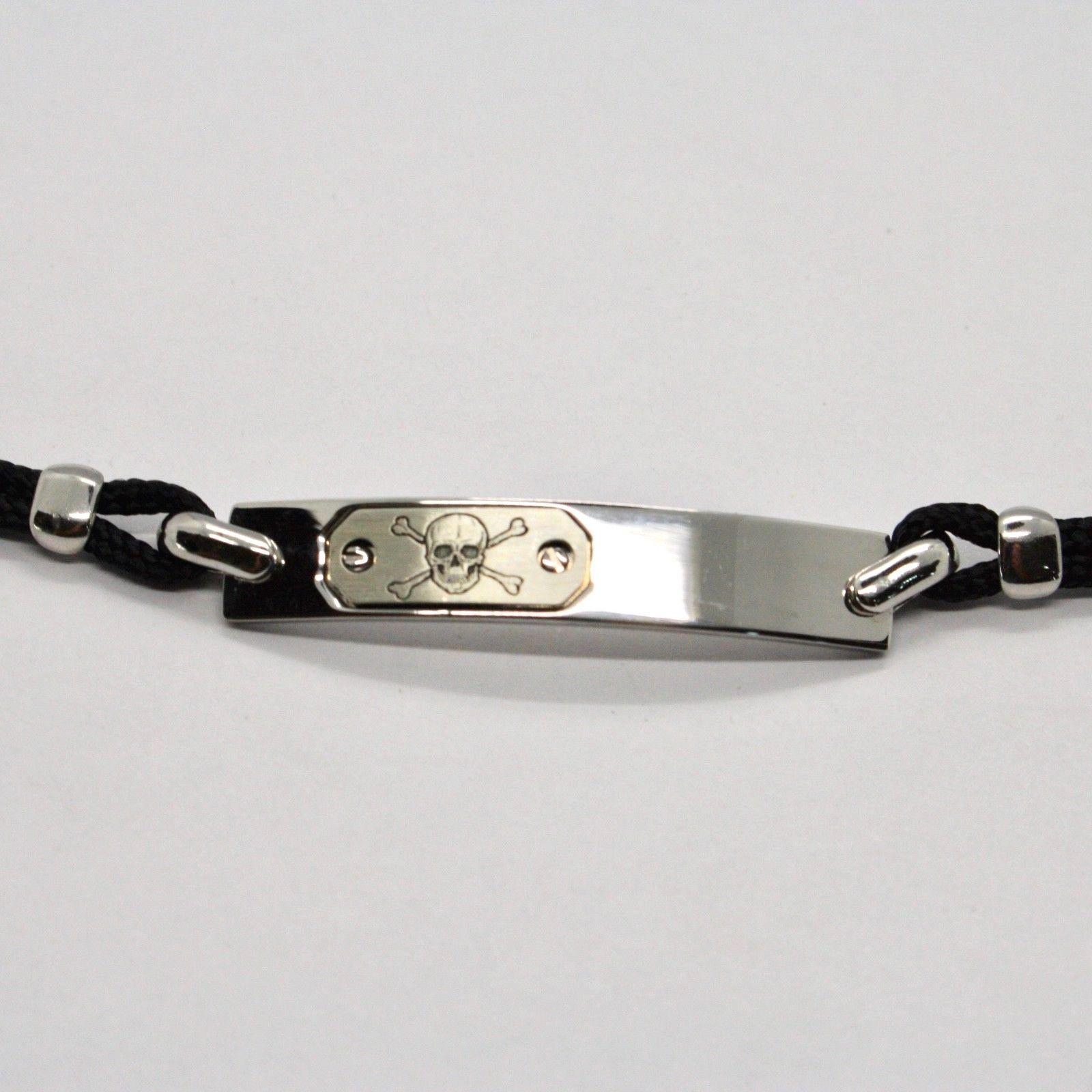 Pulsera de Plata 925 Rodiado Placa con Calavera Grabado y Cuerda 18CM