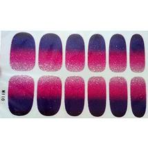 Set of 6 Stylish Bright Gradient Glittery Nail Art Stickers, M110