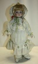 "Vintage 16"" Porcelain Doll Blond Hair Blue Eyes Old Fashion Dress w/ Bonnet - $19.79"