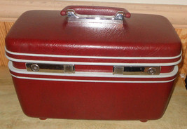 Vintage Maroon Samsonite Profile Luggage Makeup Train Beauty Case w/ Tra... - $67.71