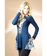 PARTY BLOUSE STRETCH EUROPEAN TUNIC BLUE LONG SLEEVE COCKTAIL TOP - $59.00