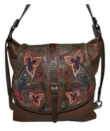 ELENCO PORTUGAL WOMENS LEATHER LISBON EMBROIDERED FRONT FLAP CROSSBODY B... - $148.45