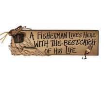 Fishermans Best Catch Wall Decor, Rustic, Country, Wood, Sign, Plaque, G... - £12.33 GBP