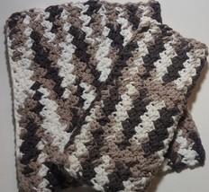 Dishcloth Washcloth Set Of 2 Brown and White Dish Cloth Wash Hand Crochet  - $5.00
