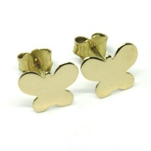 SOLID 18K YELLOW GOLD EARRINGS FLAT BUTTERFLY, SHINY, SMOOTH, 8x10 MM image 1