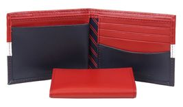 Tommy Hilfiger Men's Leather Wallet Passcase Billfold Rfid Red Navy 31TL220053 image 8