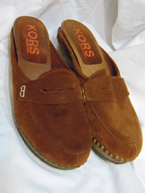 MICHAEL KORS Womens Mules Clogs Sz 9 B (M) Suede Leather Upper Brown Mad... - $40.00
