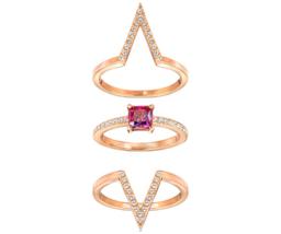 NWT Swarovski FUNK Ring Set of 3 Versatile Rose Gold Pink Crystal 7/55/M... - $88.11