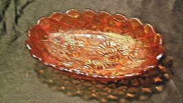 Vintage orange oval Carnival Glass with flower and diamond pattern AA19-CD0018 image 2