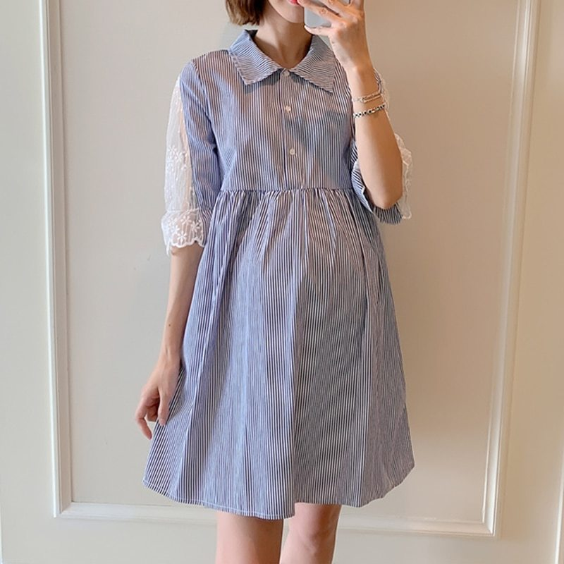 Maternity's Dress Turn Down Collar Stripe Short Sleeve Dress image 2