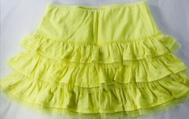 Justice Lime Neon Yellow Green Ruffle Skirt Sz 10 Mini Summer Skirt - £12.25 GBP