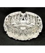 "Vintage Heavy Hand Cut Lead Crystal Round Ash Tray 5.5"" Diameter, 2.25"" ... - $59.99"