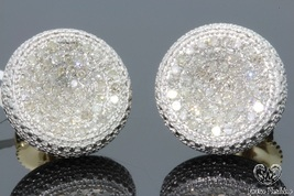 Womens 14K Yellow Gold 1.60 CT Round Diamond Micro Pave Earrings Studs - £78.97 GBP