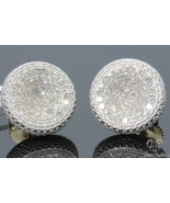 Womens 14K Yellow Gold 1.60 CT Round Diamond Micro Pave Earrings Studs - £76.77 GBP