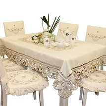 Brown Flower Embroidered lace Cream Tablecloth Square